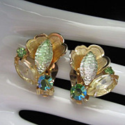REDUCED Juliana Pale Green and Citrine Rhinestone Earrings ~ REDUCED!