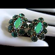 Coro Brilliant Emerald and AB Green Rhinestone Earrings