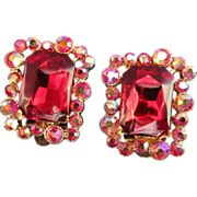 REDUCED Glowing Ruby Red and Raspberry AB Rhinestone Earrings ~ REDUCED!