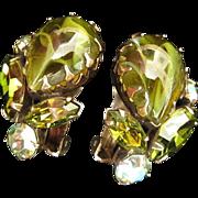 Signed Regency Olivine Art Glass and Rhinestone Earrings