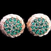 Trifari Emerald Green Rhinestone Earrings