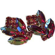 REDUCED Glowing Raspberry AB and Pink Rhinestone Flower Earrings ~ REDUCED!!