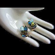SALE Art Glass, Enamel and Rhinestone Earrings