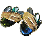 Blue-Green Heliotrope Cabochon and Rhinestone Earrings