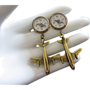 Aviation Lovers Plane and Compass Pierced Earrings