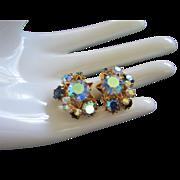 Stardust Austrian Blue AB, Montana Blue Rhinestone Earrings
