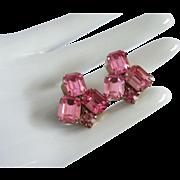 Glittering Weiss Fuchsia Rhinestone Earrings