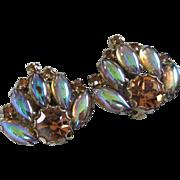 Topaz Rhinestones, Blue-Topaz Iridescent Navette Earrings