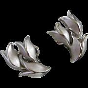 Trifari Elegant Brushed, Polished Silver Tone Tulips Earrings