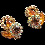 Brilliant Juliana Topaz and AB Rhinestone Earrings