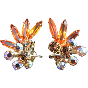 Incredible Hyacinth Orange, Topaz and AB Rhinestone Earrings