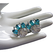 Sparkling Vintage Aquamarine and Silver Tone Earrings