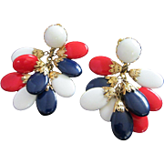 REDUCED Vintage Napier Red, White & Blue Patriotic Dangling Earrings ~ REDUCED!!