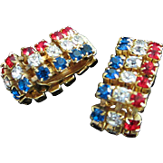 All American Red, Clear and Blue Rhinestone Wrap-Around Earrings