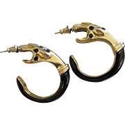 Donald Stannard Black Enamel & Gold Tone Snake Earrings, Pierced