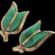 SALE Vintage Trifari Green Thermoset Tulip Earrings