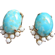 SALE Vintage Faux Turquoise and Milk Glass Earrings