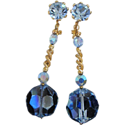 REDUCED Gorgeous Light Blue AB Crystals, Rhinestones Dangling Earrings ~ REDUCED!