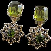 Vintage Austrian Olivine Rhinestone Earrings