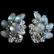 SALE Vintage Smokey Black Diamond Rhinestone and Glass Navette Earrings
