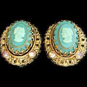 SALE Vintage West Germany Teal Glass Cameo Earrings