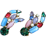 Multi Colored Rhinestone and Faux Pearl Earrings