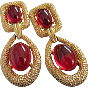 Dangling JOMAZ Red Glass Cabochon and Gold Tone Earrings ~ For Deby