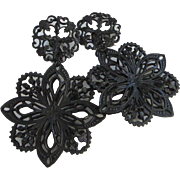 Accessocraft of NYC Large Japanned Filigree Dangling Flower Earrings