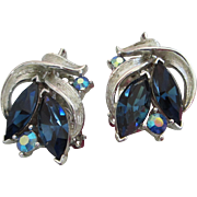 SALE Lisner Montana Blue and AB Rhinestone Earrings