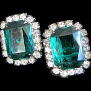 Open Back Emerald Green and Clear Rhinestone Earrings