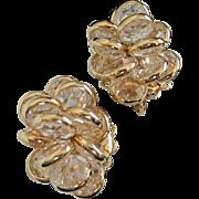 Vintage Clear Crystal Clusters Earrings