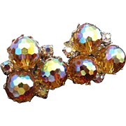 Brilliant Topaz Crystals and Rhinestone Earrings