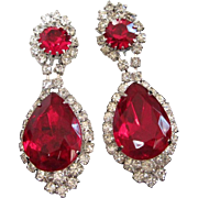 Opulent Ruby Red and Clear Rhinestone Chandelier Earrings