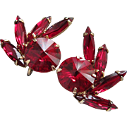 Ravishing Ruby Red Rivoli Rhinestone Earrings
