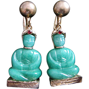 Vintage Jade Green Glass Buddha Earrings
