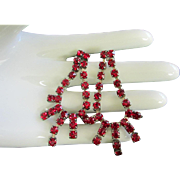 Ruby Red Rhinestone Dangling Pierced Earring