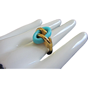 SALE Rare Trifari Turquoise Lucite and Gold Tone Ring, Size 9
