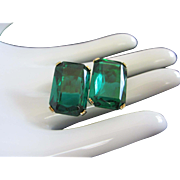 REDUCED Austrian Vintage Emerald Green Rhinestone Earrings ~ REDUCED!