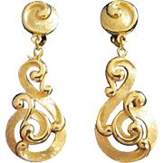SALE Trifari Brushed and Polished Gold Tone Earrings