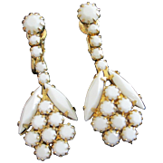 SALE White Milk Glass Navette and Chaton Earrings