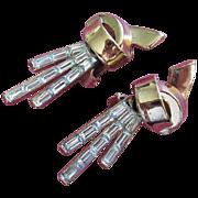 SALE Mid Century Trifari Clear Baguette Earrings