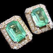 SALE Vintage Peridot Green Rhinestone Earrings