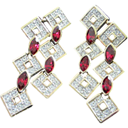 SALE Vintage Attwood & Sawyer Ruby and Clear Rhinestone Pierced Chandelier Earrings