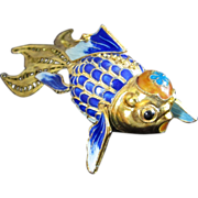 Amazing Articulating Vermeil Chinese Koi Fish with Google Eyes