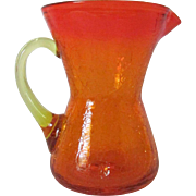 REDUCED Small Vintage Amberina Crackle Glass Pitcher ~ REDUCED!