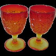 REDUCED Vintage Amberina Goblets, Glasses, Set of 2 ~ REDUCED!
