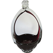 Dark Cranberry and Clear Glass Basket