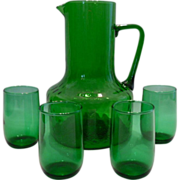 SALE Kelly Green Juice Pitcher & 4 Glasses