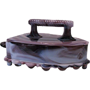Imperial Glass Co. Purple and White Slag Flat Iron Dish