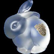 Vintage Fenton Bunny Rabbit Figurine in Clear Crystal Velvet